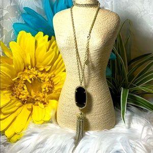 Kendra Scott necklace Rayne Black gold euc